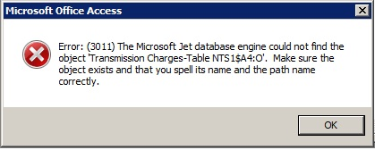 Microsoft Jet Engine cannot open this file