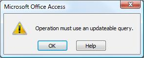 Operation Must Use An Updatable Query