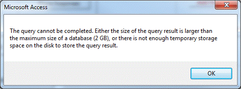 "Access error ""The Query Cannot Be Completed"""