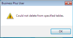Could not delete from the specified tables