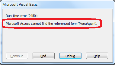 Microsoft Access Error 2450