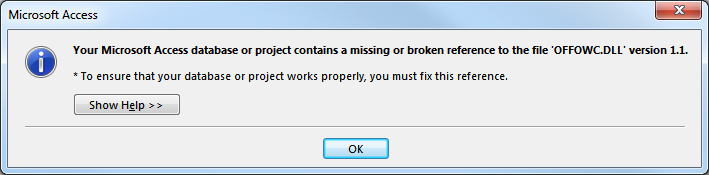 fix MS Access Database missing OR Broken references