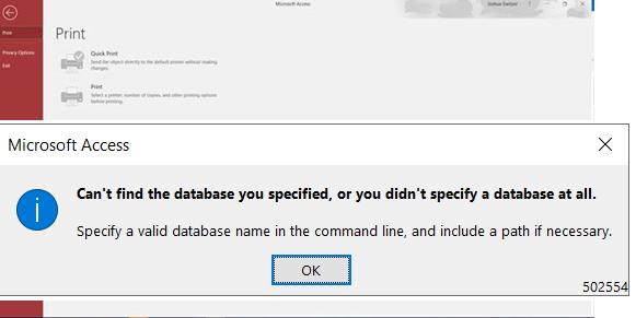 Can not find the database you specified