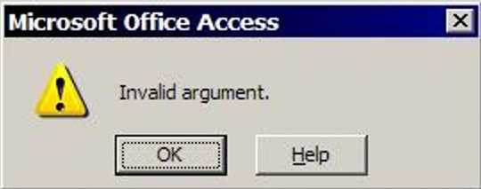 invalid argument