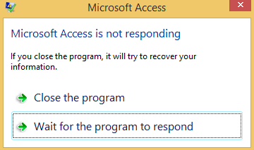 MS Access is not responding