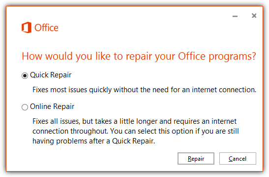 Repair Microsoft Office 2013