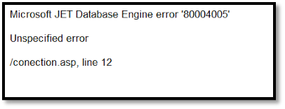 Microsoft JET Database Engine error 80004005