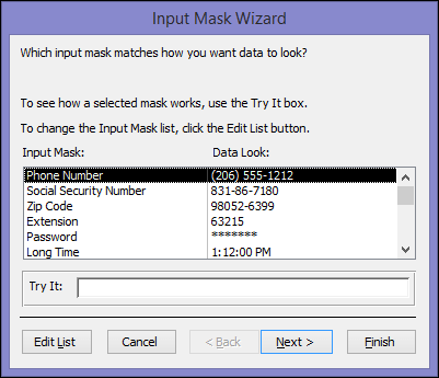 Grab Complete Knowledge On - Microsoft Access Input Mask Feature