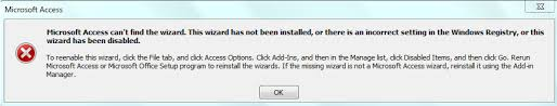 Microsoft Access can not find this wizard
