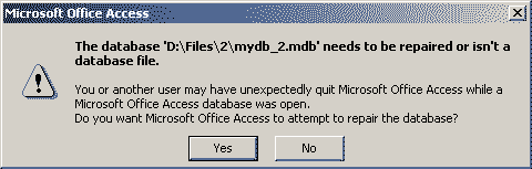 Access Database Is Required To Be Repaired Error