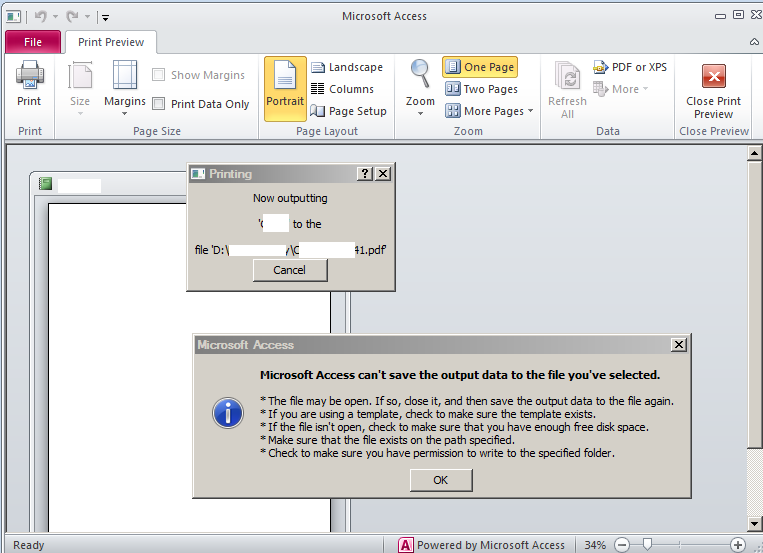 Microsoft Access can't save the output data to the file you've selected