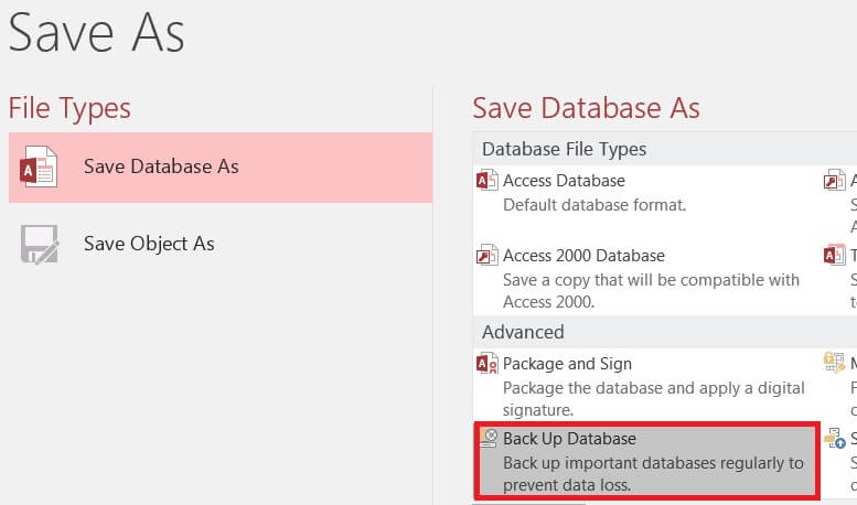 Backup Access Database Back-End 4a