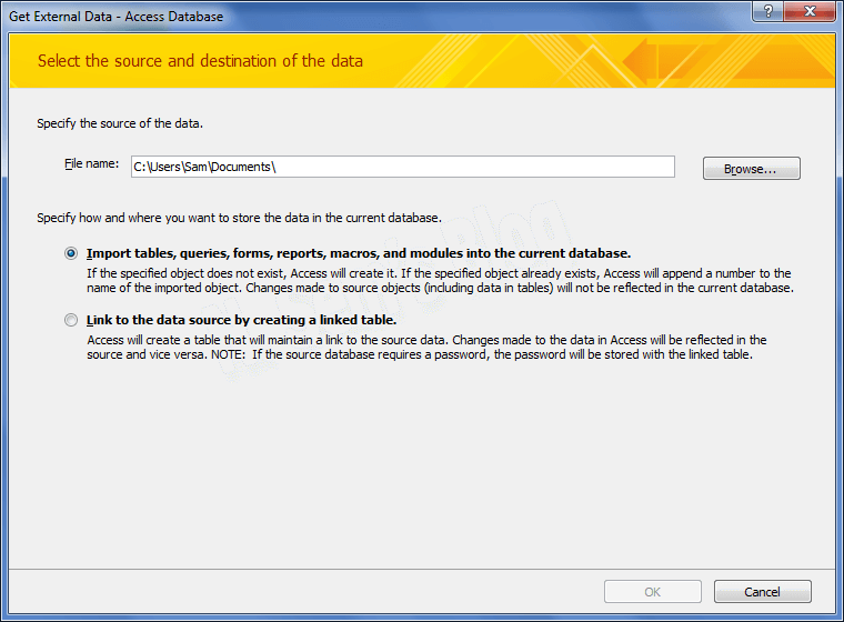Import Corrupt Database into new MS Access Database