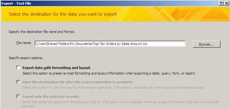 Exporting Access Database To XML Or CSV 3