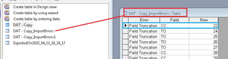 Microsoft Access import Truncation error