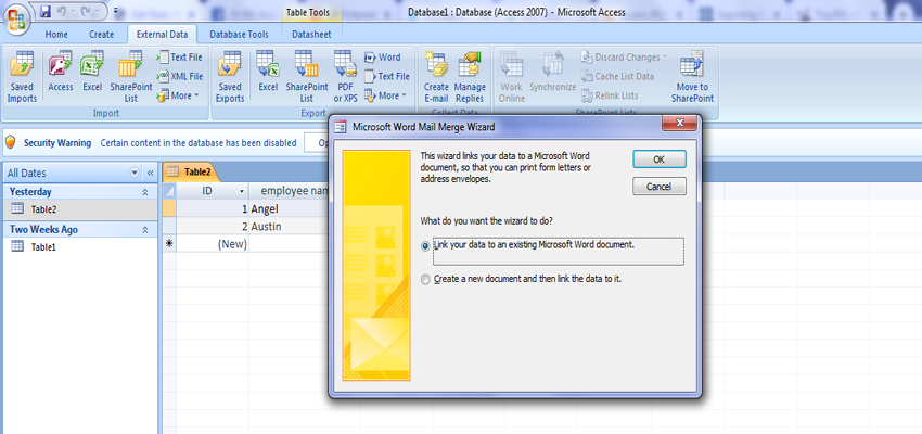 Use mail merge to send Access data to Word 1