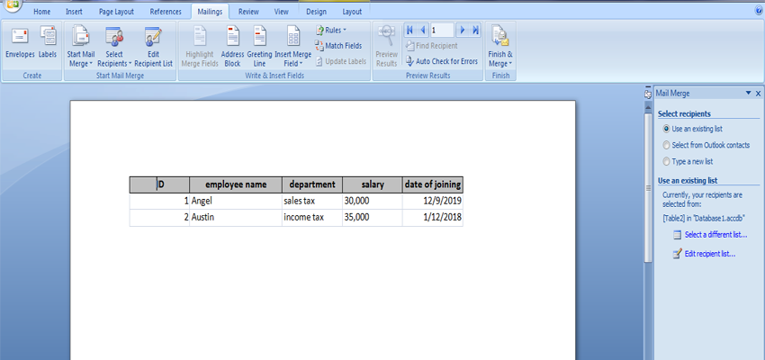 Use mail merge to send Access data to Word 3