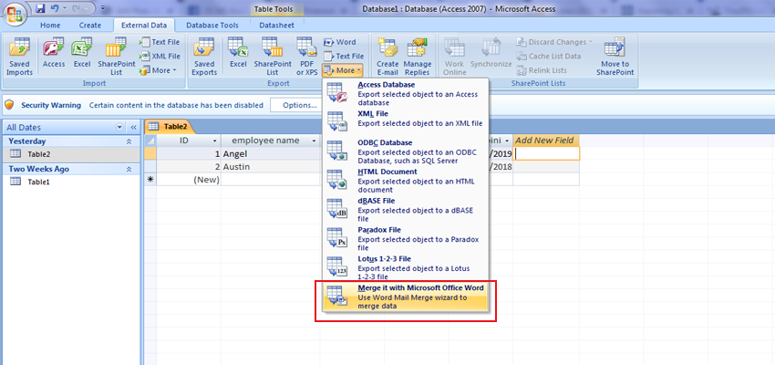 Use mail merge to send Access data to Word