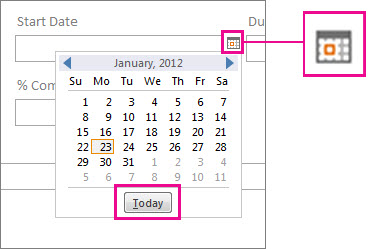 date picker control in Access