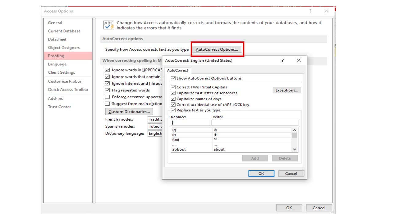 turn off autocorrect in Access 2