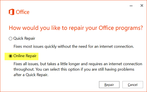 Run Repair Utility Of Office 3