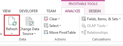 efresh PivotChart or PivotTable view records