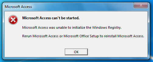 Access Can't Be Started Unable To Initialize The Windows Registry Error
