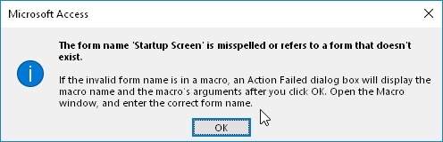 Form Name Is Misspelled Or Refers To A Form That Doesn't Exist